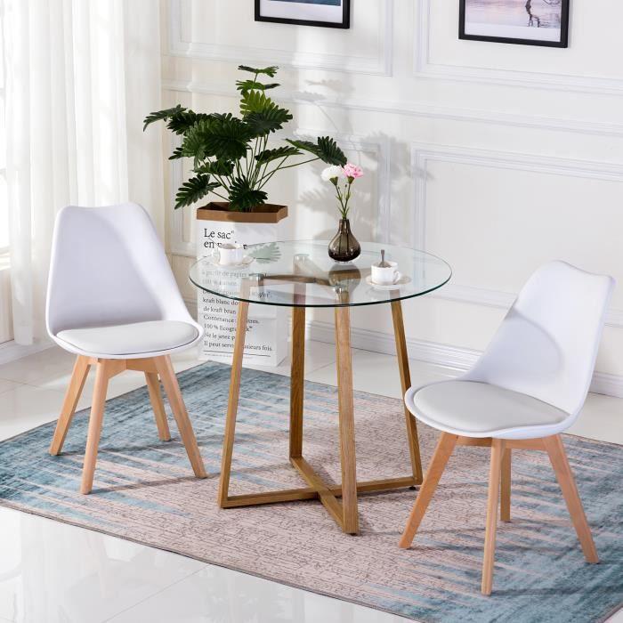 IPOTIUS Table en Verre Salle à Manger Ronde Scandinave Design 80x80x75cm