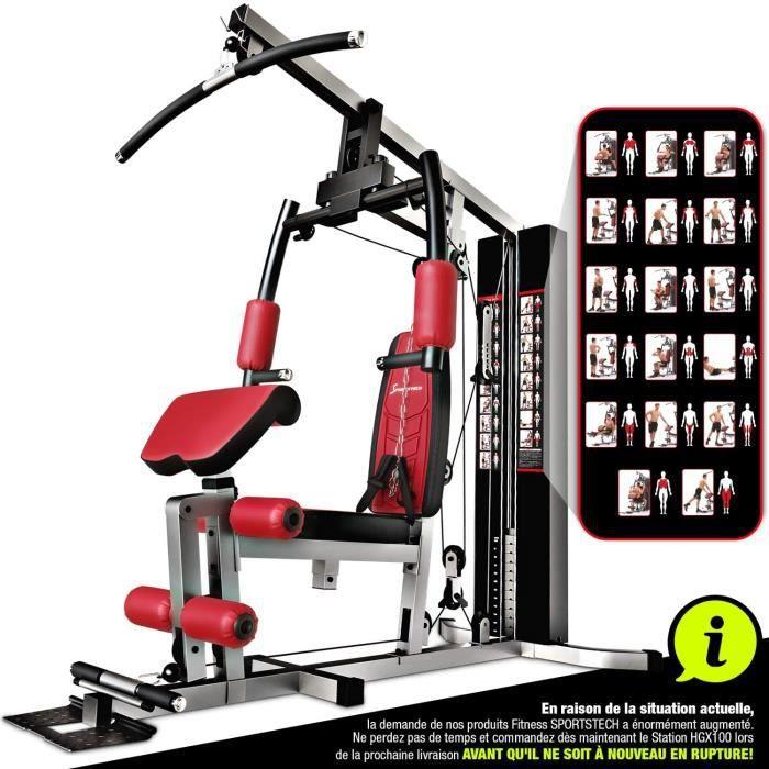 Sportstech Station de Musculation Multifonction Premium 45en1 HGX100/HGX200, Appareil Musculation Variantes d'entraînement. Home-Gym