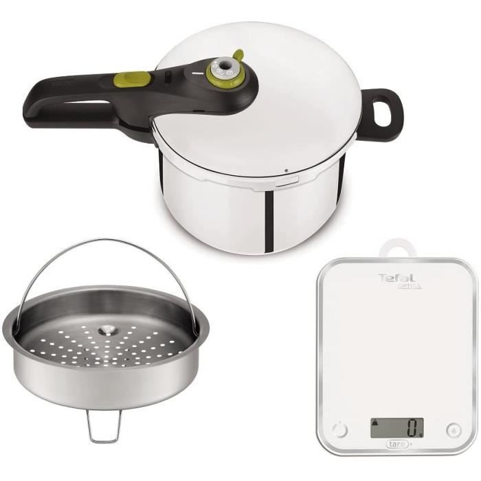 Tefal YY3081FA Autocuiseur Secure Néo 5 8L et Balance de Cuisine, Acier Inoxydable, Inox