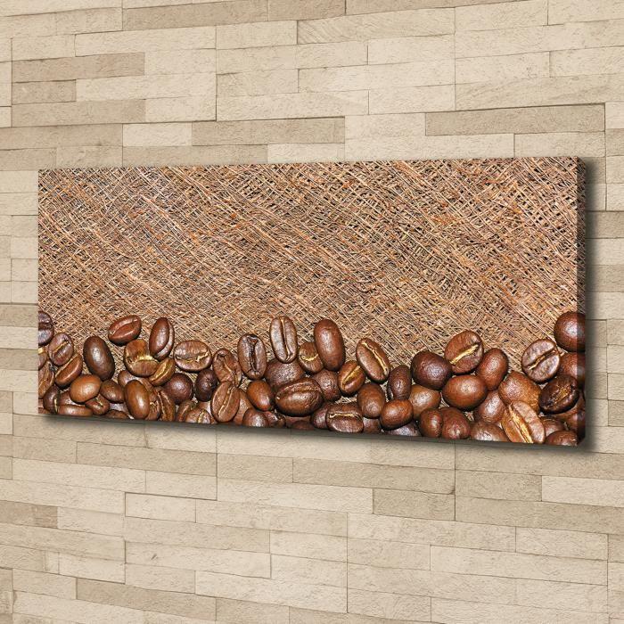 Tulup 125x50 cm art mural - Image sur toile:- Nourriture boissons - Grains De Café - Brun Gris Blanc