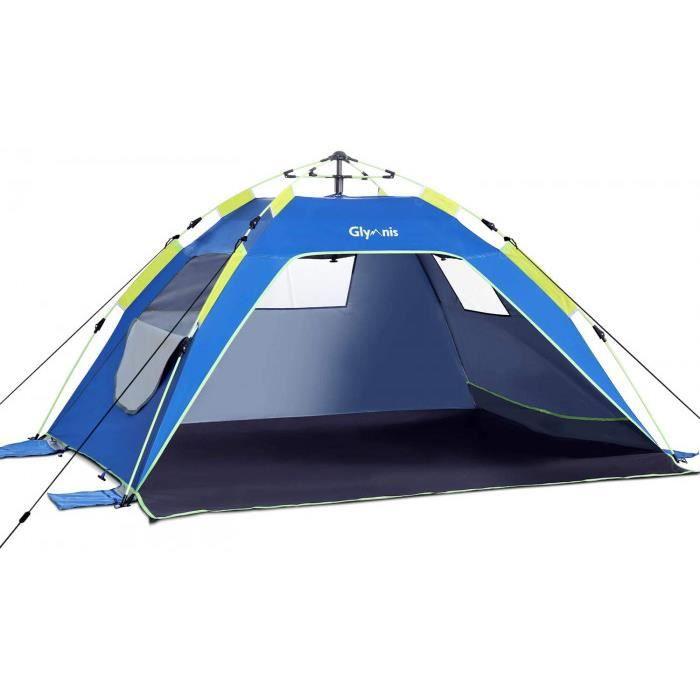 tente de plage pop-up ressort hydraulique 4 ou 5 personnes abri soleil upf 50+ anti uv automatique montage instantané famille extéri