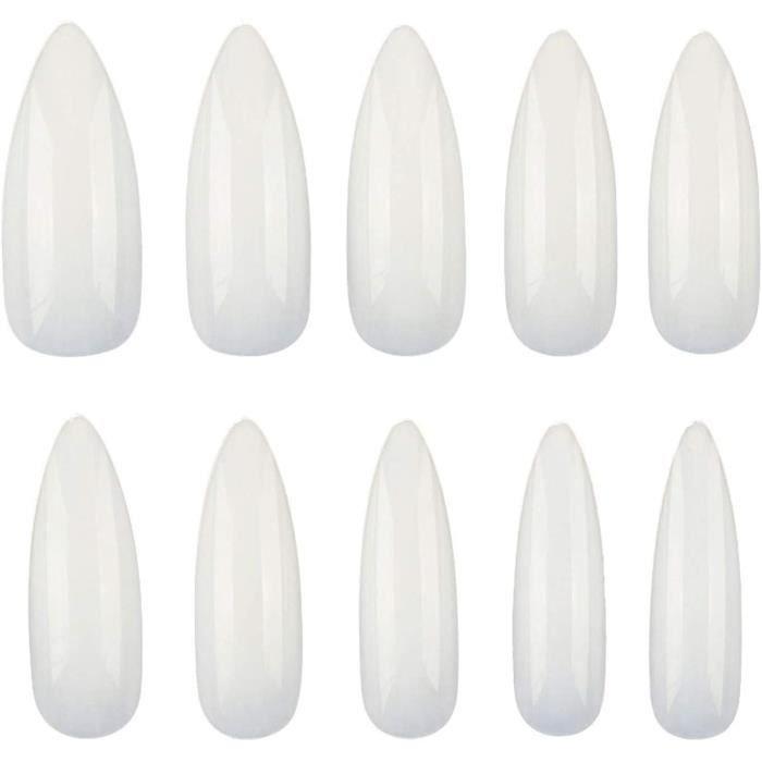 600 Pièces Stiletto Faux Ongles et Capsules 10 Tailles, Pointe Ongle en Acrylique pour Ongle Gel UV une Utilisation Domestique