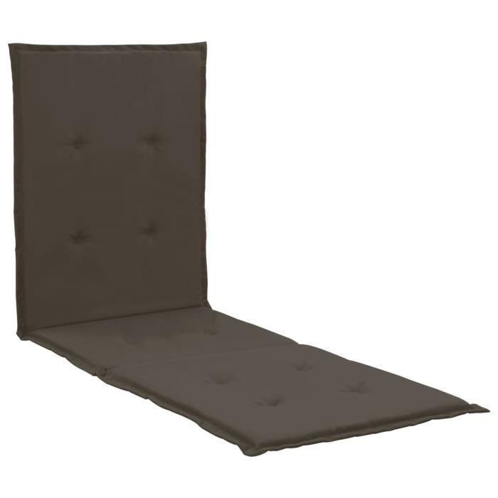 Coussin de chaise longue pour Chaise Fauteuil Transat de Jardin Terrasse Anthracite 180x55x3 cm