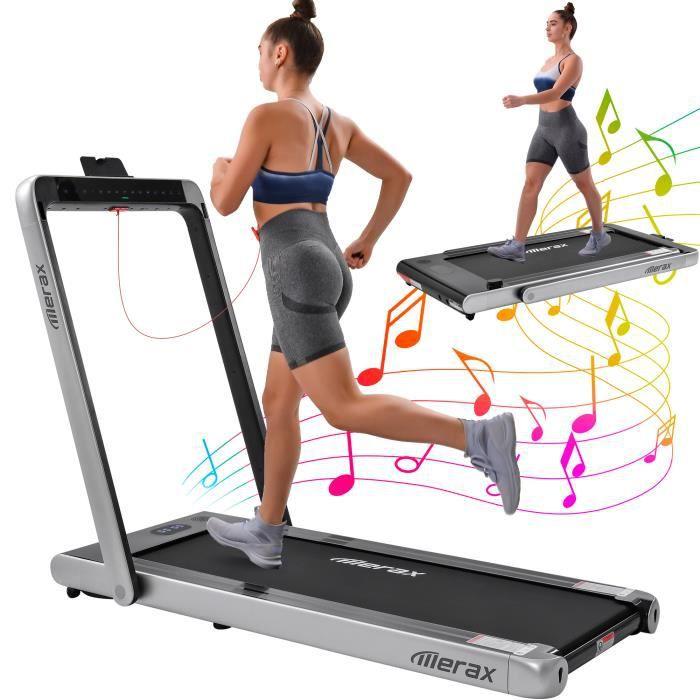 Merax Tapis de Course Pliable 2 en 1, 1- 12KM/H, 2 Modes Sportifs, Contrôle Écran Tactile/Télécommande, Bluetooth Intégré, gris