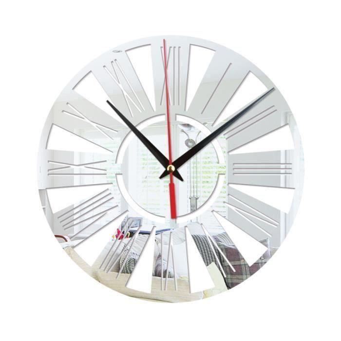 Horloge murale ronde cuisine moderne Home Decor chiffres romains forme sticker mural miroir creux sans batterie (Argent) Da07280