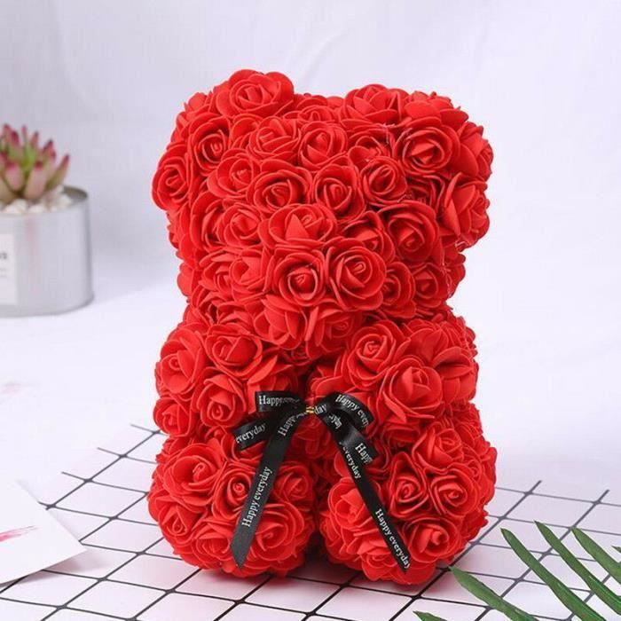 Rose Flower Saint Valentin Ours Des Rose pour Cadeau d'anniversaire, Cadeau de la Saint-Valentin, Décoration de Mariage-Red