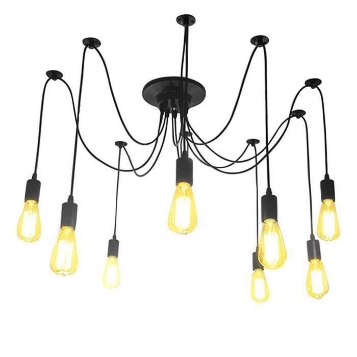 8*E27 rétro lumière pendentif multiples DIY Loft lustre plafonnier Spider lampe d'éclairage d'ombre décoration d'éclairage