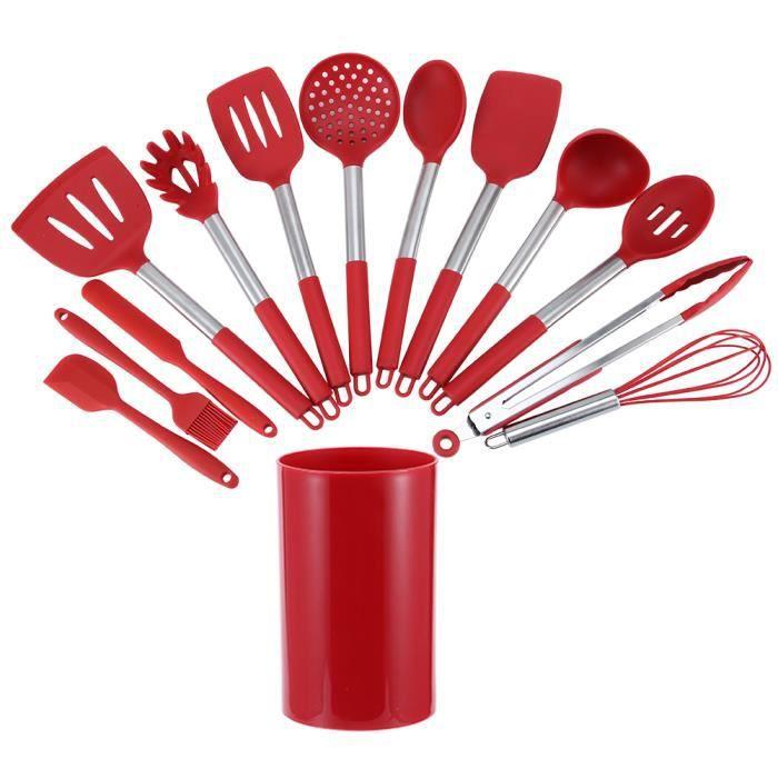14Pcs Kit d'Ustensiles de Cuisine en Silicone Rouge Ustensiles Antiadhésifs avec Boîte de Rangement pour Cuisine
