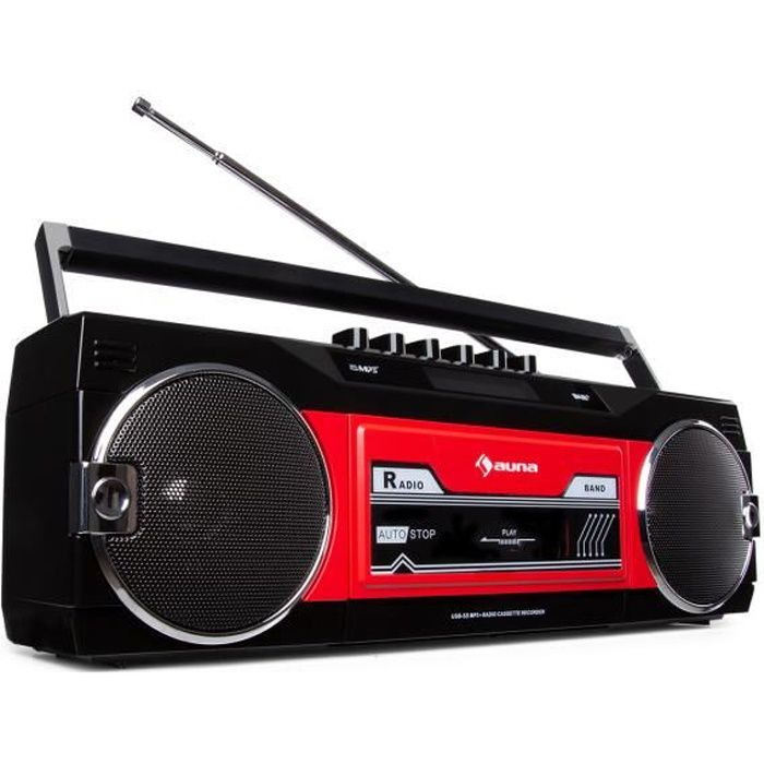 auna Duke DAB RD - Radio portable avec lecteur de cassette , tuner DAB+-FM , Bluetooth , encodage USB - SD - Rouge & noir