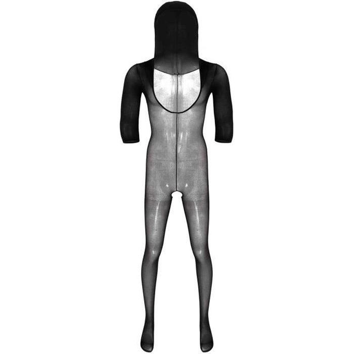 Body Homme Sexy Ouvert Entrejambe Bodystocking Erotique Lingerie Transparente Combinaison Fishnet Bodysuit Noir #1