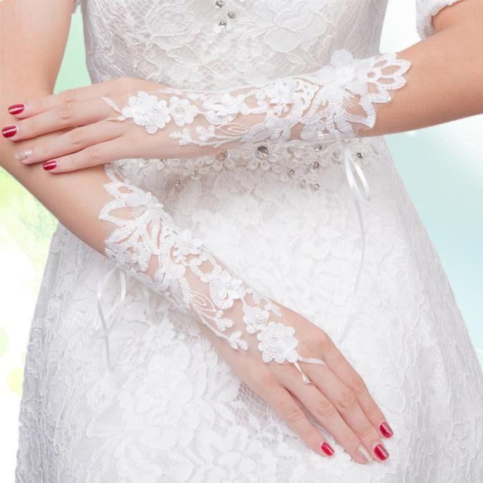 1 paire de gants dentelle fleur mariée mode évider bandage rosée doigt décorations robe de accessoires