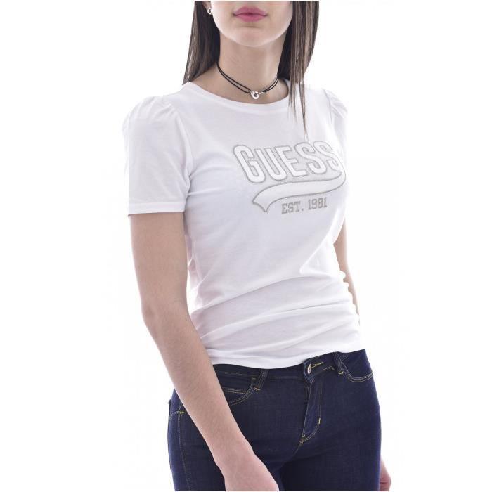 Tee shirt à logo strassé - Guess jeans - Femme