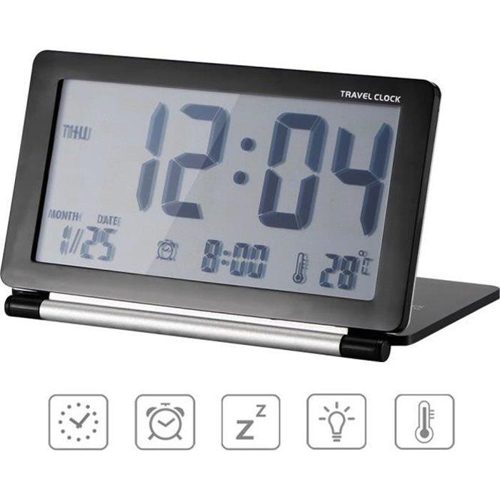 Reveil de Voyage Pliable, Horloge Digital Silencieux Réveil Grand Écran LCD avec Rétro-éclairage Date Température Affichage
