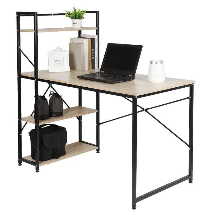 Table de bureau en bois et acier - 1 étagère - Noir et chêne clair - 120 x 64 x 120 cm