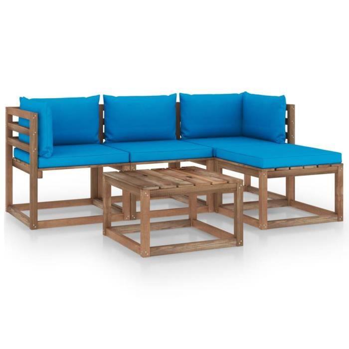 8211MOBI- Salon de Jardin 5 pcs,Mobilier de Jardin,Meubles d'Extérieur Terrasse avec coussins bleu clair