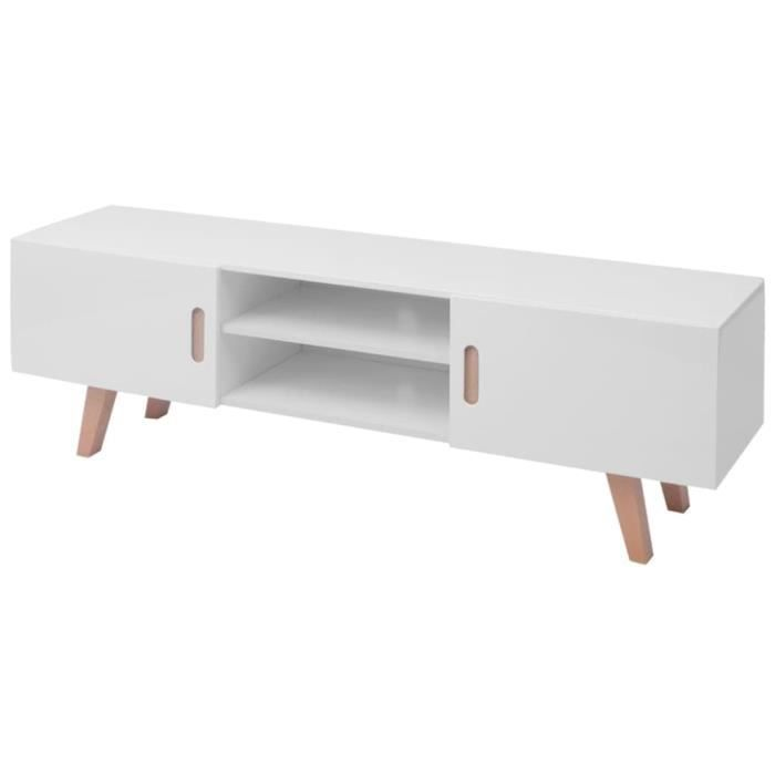 Meuble TV scandinave contemporain MDF 150x35x48,5 cm Blanc brillant