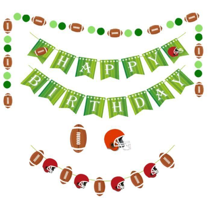 15 pièces ensemble de décoration suspendue anniversaire thème de rugby sport fournitures de fête de APPAREIL ABDO - PLANCHE ABDO