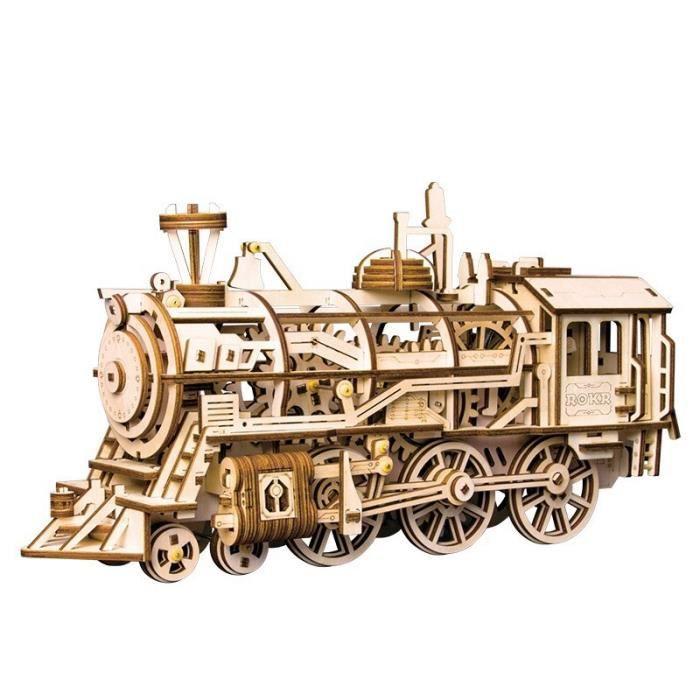 ROBOTIME Kit de construction mécanique de locomotive- Casse-tête en bois 3d découpé au laser - Kit de modèle de bâtiment modulaire