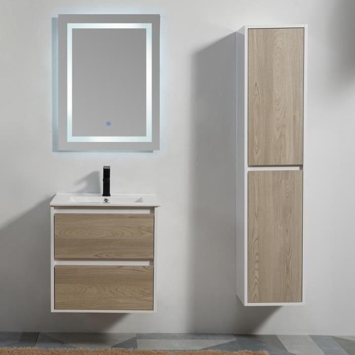 Meuble de salle de bain 2 Tiroirs - Bois - Vasque - Miroir LED - 60x46 cm - Scandinave