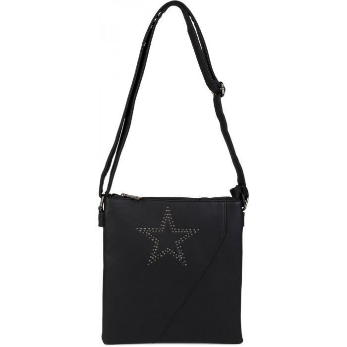 sacoche à bandoulière avec clous en forme d'étoile et couture transversale, sac à bandoulière, sac à main, femme 02012105