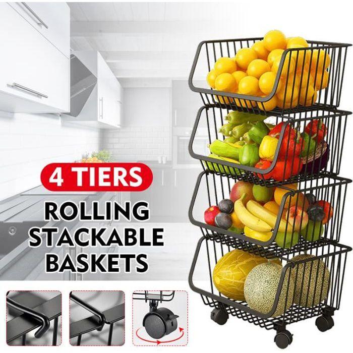 4 étages Étagère de cuisine rangement fruits légumes Panier amovible avec roulettes multi-usages salle de bains 88x41x33CM