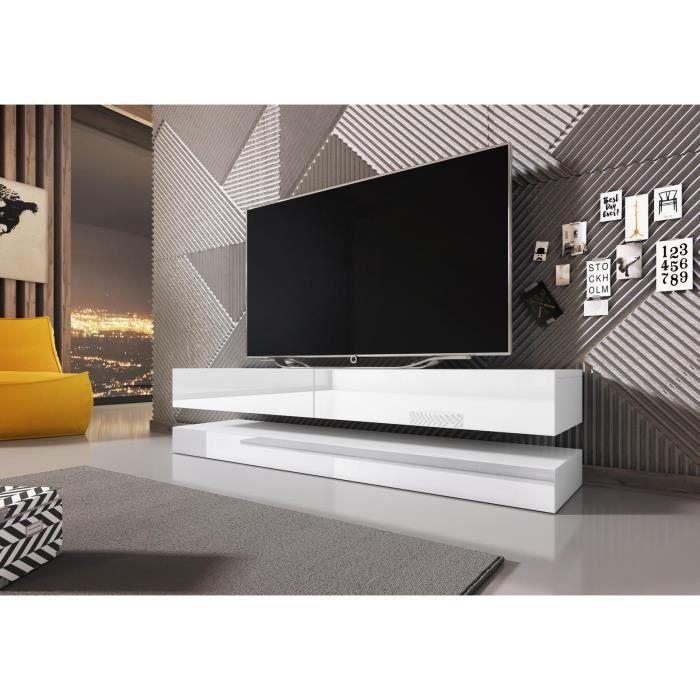 VIVALDI Meuble TV - FLY - 140 cm - blanc mat / blanc brillant sans LED - style moderne