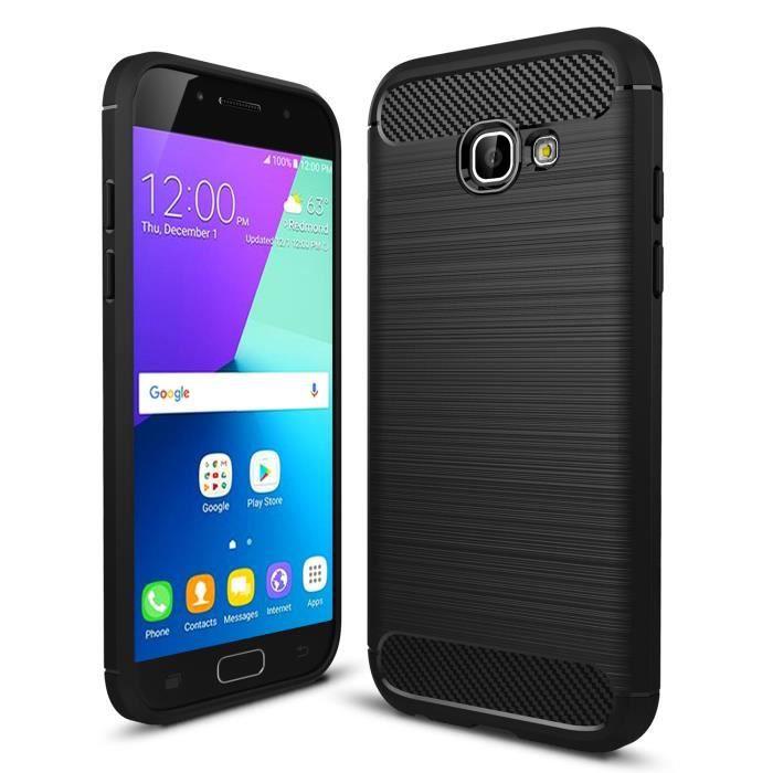 Pour Samsung Galaxy A5 2017 SM-A520F, Silicone Housse Etui Anti-rayures Fibre de Carbone Coque de Protection - Noir