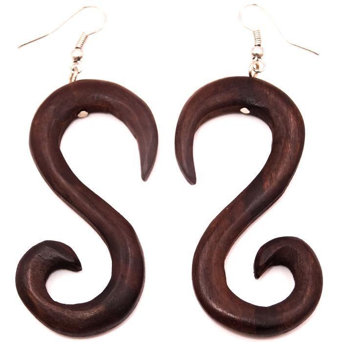 Boucles d/'oreilles Créoles Piercing Bois Wooden Earring piercing Ethnique spiral