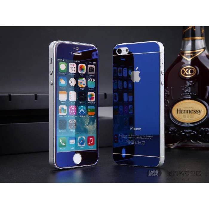 bleu miroir front dos film de protection vitre verre trempe transparent pour iphone 5 5s achat. Black Bedroom Furniture Sets. Home Design Ideas