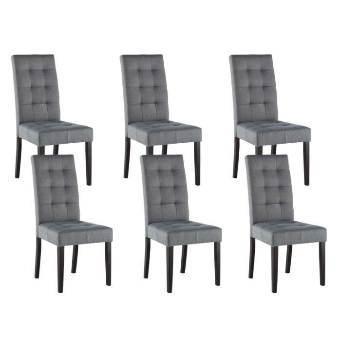 eden lot 6 chaises gris clair achat vente chaise. Black Bedroom Furniture Sets. Home Design Ideas