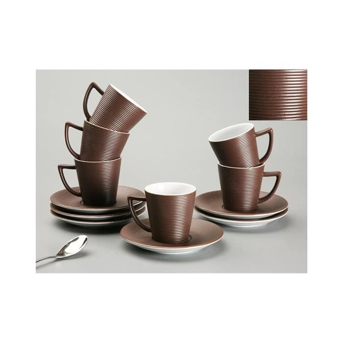 coffret 6 tasses caf marron h l ne marron achat. Black Bedroom Furniture Sets. Home Design Ideas