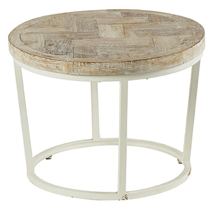 Table Basse Ronde Blanchie Bois Amki Meuble House Blanc Achat