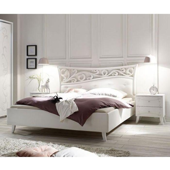 lit 180x200 bois blanc esmeralda blanc bois l 210 x l 211 x h 116 cm lit