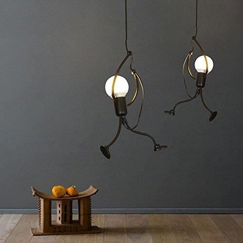 moderne cr atif noir m tal lampe pendentif diy art conception clairage suspendu 1 lumi re 26cm. Black Bedroom Furniture Sets. Home Design Ideas