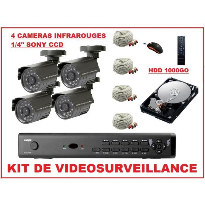kit 4 video surveillance enregistreur achat vente. Black Bedroom Furniture Sets. Home Design Ideas