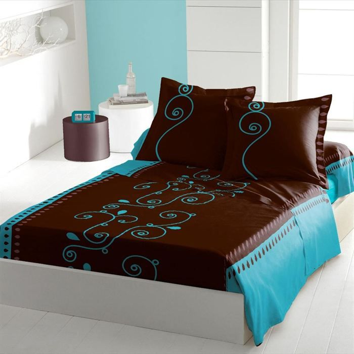 cacao barry turquoise parure de drap 3 pi ces achat. Black Bedroom Furniture Sets. Home Design Ideas