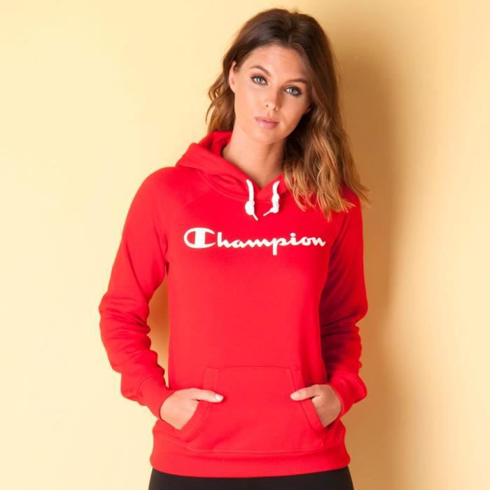 sweat capuche champion pour femme en rouge rouge achat vente sweatshirt cdiscount. Black Bedroom Furniture Sets. Home Design Ideas