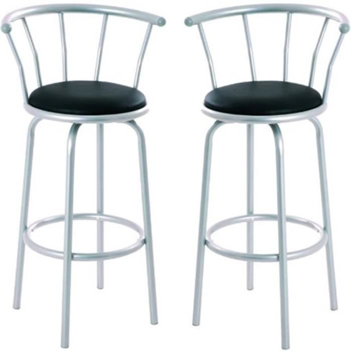 lot de 2 tabourets de bar en acier coloris alu achat vente tabouret de bar acier cdiscount. Black Bedroom Furniture Sets. Home Design Ideas
