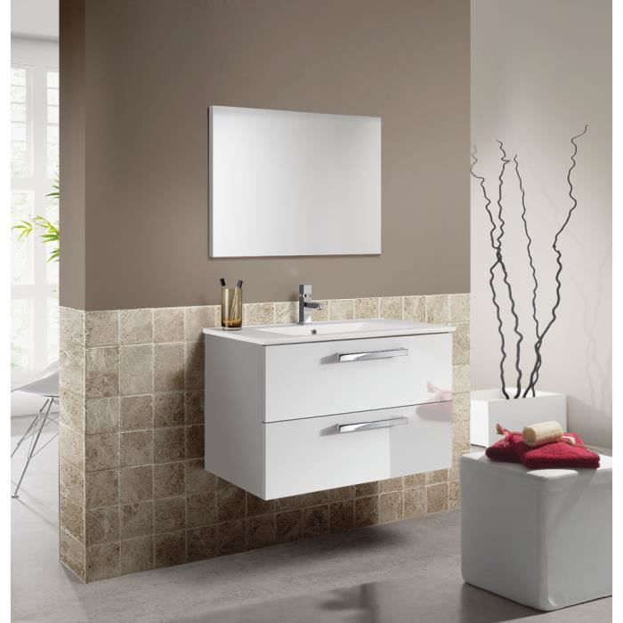 set de meuble sous lavabo avec 2 tiroirs blanc brillant blanc laqu lavabo blanc miroir. Black Bedroom Furniture Sets. Home Design Ideas