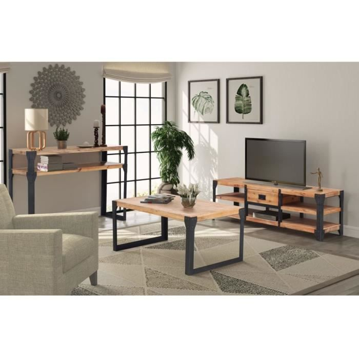 Ensemble meuble tv table basse achat vente pas cher for Ensemble salon bois