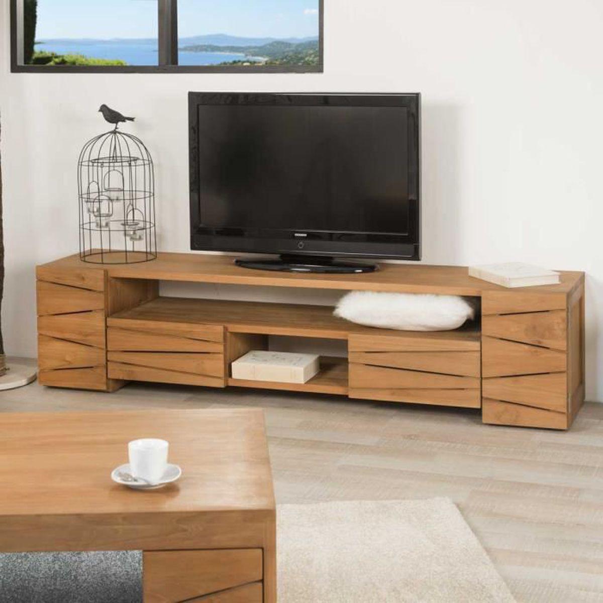 Meuble Tv Table Basse Assorti meuble tv en teck 170 sérénité - achat / vente meuble tv