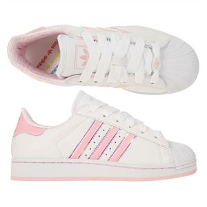 adidas baskets cuir superstar 2 femme femme blanc et rose achat vente adidas superstar 2. Black Bedroom Furniture Sets. Home Design Ideas