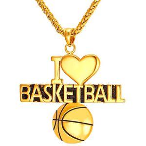 14k Logo Basketball Nets et Pendentif Sports charme or jaune