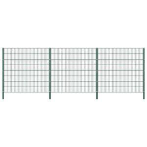 CLÔTURE - GRILLAGE Panneau de clôture avec poteaux Fer 5,1 x 1,6 m Ve