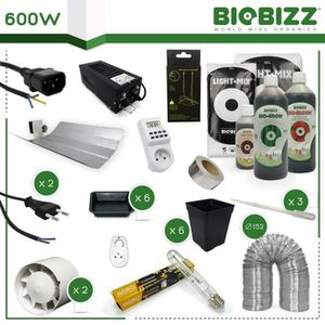 KIT DE CULTURE Pack culture TERRE 600W - BIOBIZZ Organics - 6 pla