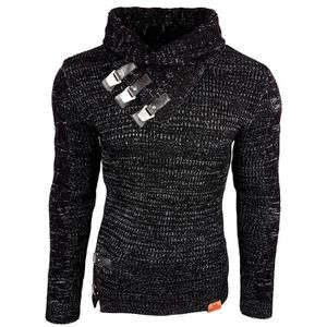 PULL Subliminal Mode - Pull homme col chale avec bouton 2b36f9feefde