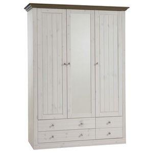 ARMOIRE DE CHAMBRE Armoire coloris blanc en pin massif - Dim : 201.4