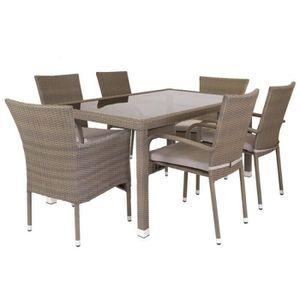 SALON DE JARDIN  Ensemble Table & Chaises Rotin synthétique - BAROS