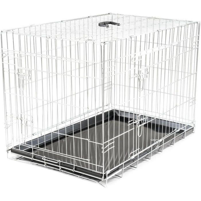 VADIGRAN Cage métallique pliable Classic - 91 x 61 x 66 cm - Argent - Pour chien