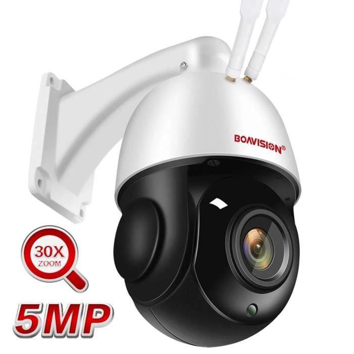 Caméra de surveillance HD 5MP-wifi, tracking automatique et ia, zoom 30x, système audio bidirectionnel et infrarouge (80m) + 125G